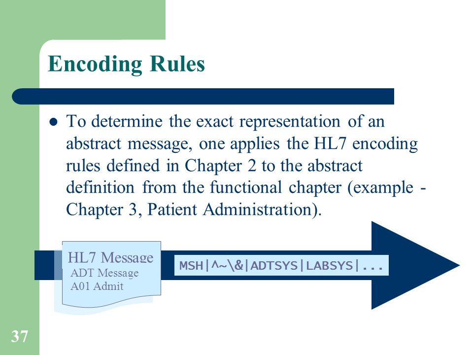 37 Encoding Rules To determine the exact representation of an abstract message, one applies the HL7 encoding rules defined in Chapter 2 to the abstract definition from the functional chapter (example - Chapter 3, Patient Administration).