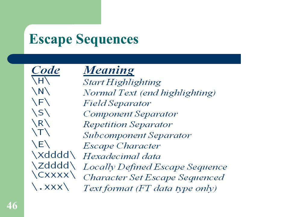 46 Escape Sequences
