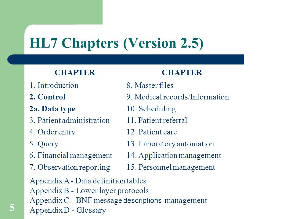 5 Appendix A - Data definition tables Appendix B - Lower layer protocols Appendix C - BNF message descriptions management Appendix D - Glossary HL7 Chapters (Version 2.5) CHAPTER 1.