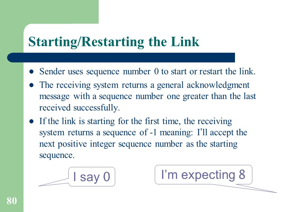 80 Starting/Restarting the Link Sender uses sequence number 0 to start or restart the link.