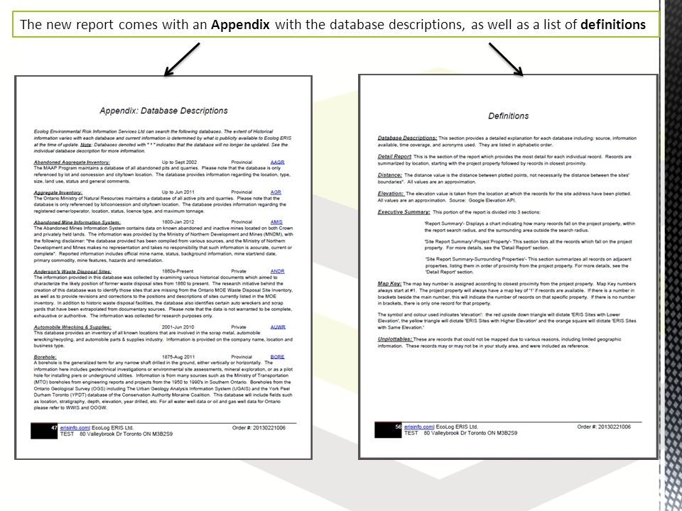 The new report comes with an Appendix with the database descriptions, as well as a list of definitions