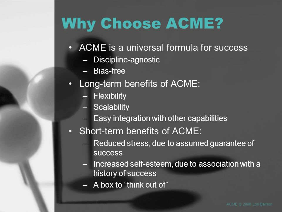 While itself a discrete management paradigm, ACME organically enables the incorporation of a multiplicity of standards and practices.