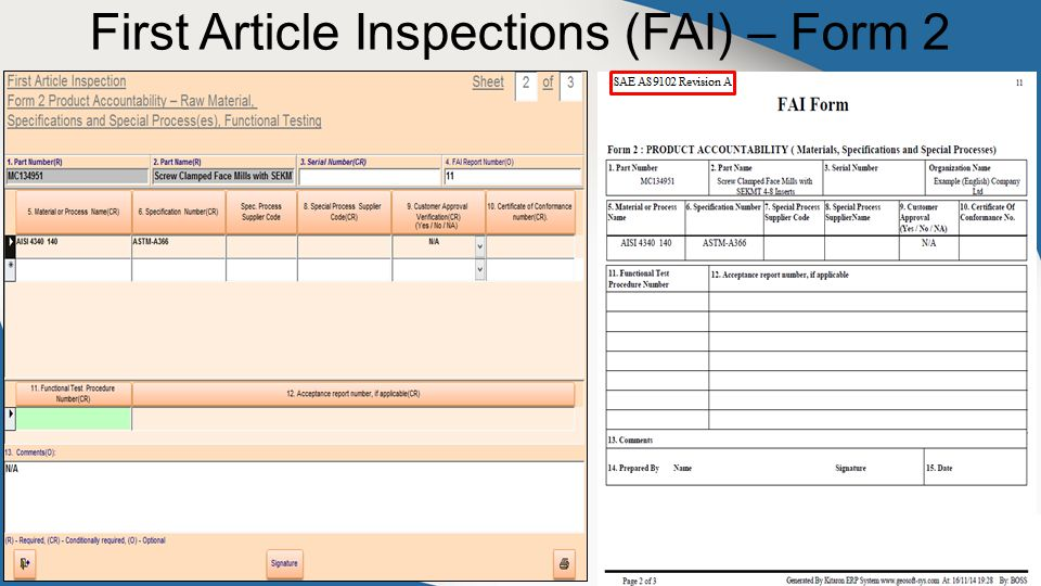 First Article Inspections (FAI) – Form 2