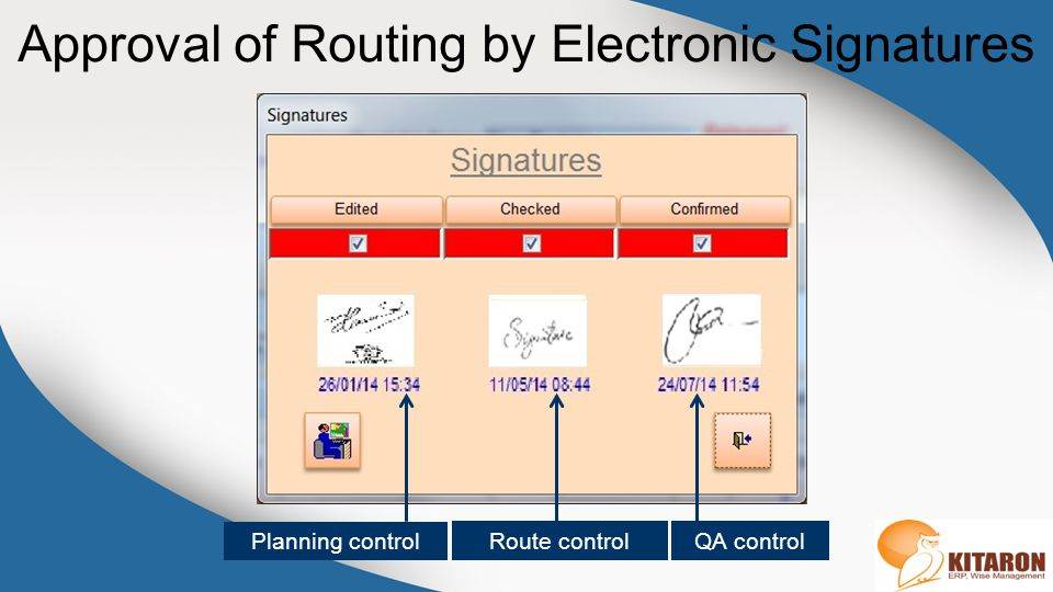 Approval of Routing by Electronic Signatures Route control Planning control QA control
