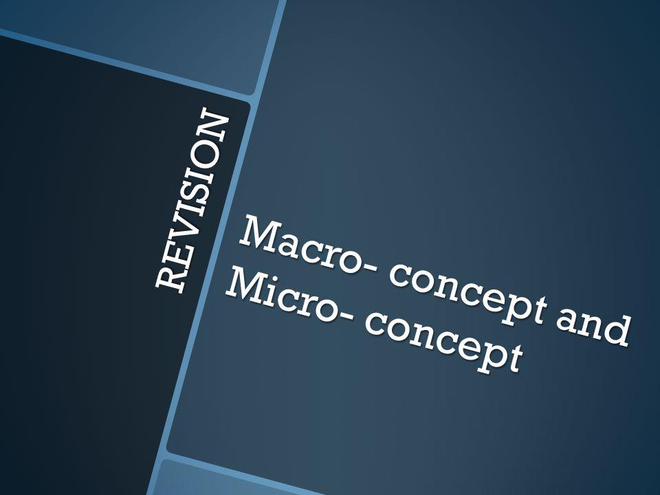 REVISION Macro- concept and Micro- concept