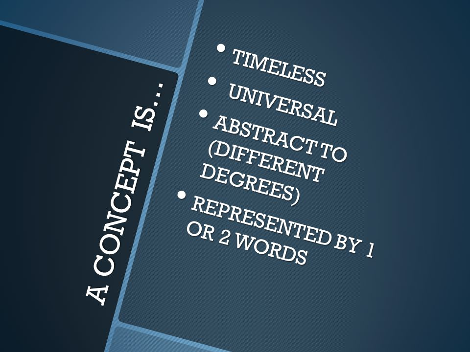A CONCEPT IS… TIMELESS TIMELESS UNIVERSAL UNIVERSAL ABSTRACT TO (DIFFERENT DEGREES) ABSTRACT TO (DIFFERENT DEGREES) REPRESENTED BY 1 OR 2 WORDS REPRES