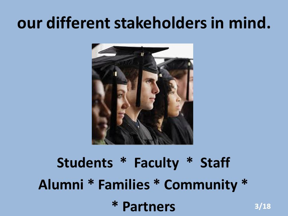 our different stakeholders in mind.