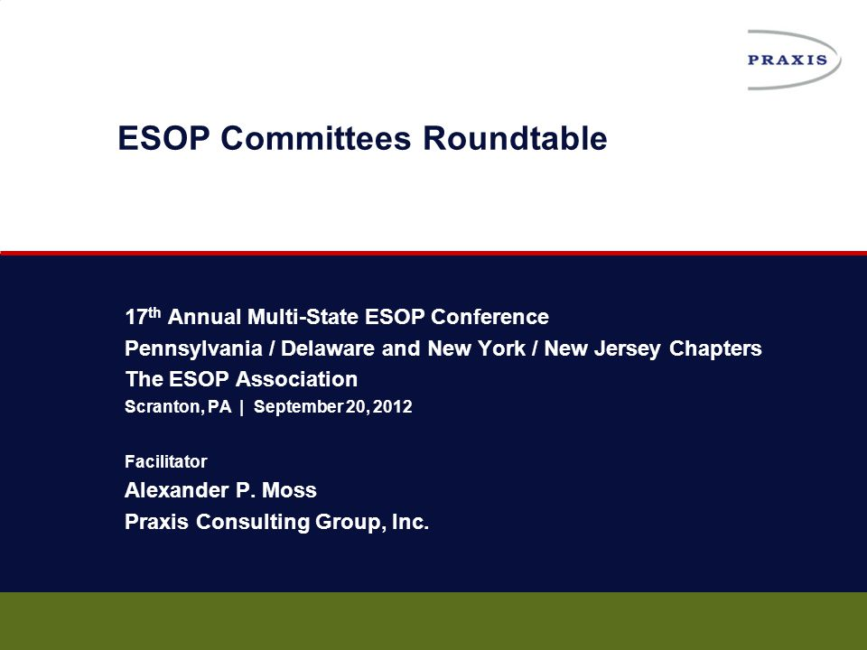 31 September 20, 2012 Leadership: Defining the Boundaries  Responsibility Charting  Start with leadership  Take initial mission / charter to whole company  Revise later as needed The ESOP Association | Multi-State ESOP Conference