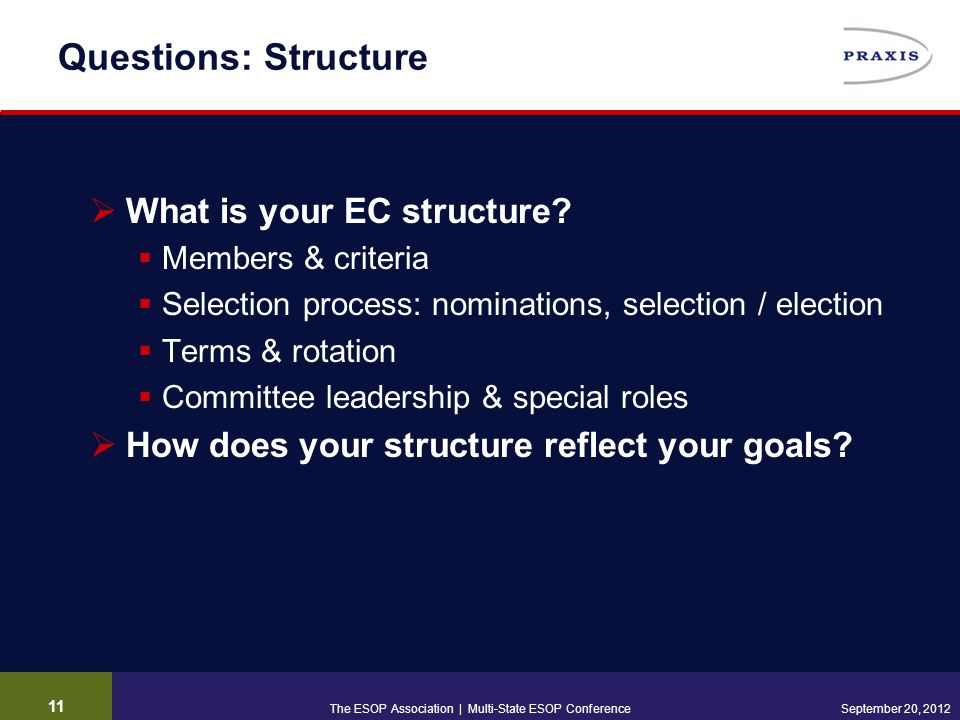 Questions: Structure  What is your EC structure.