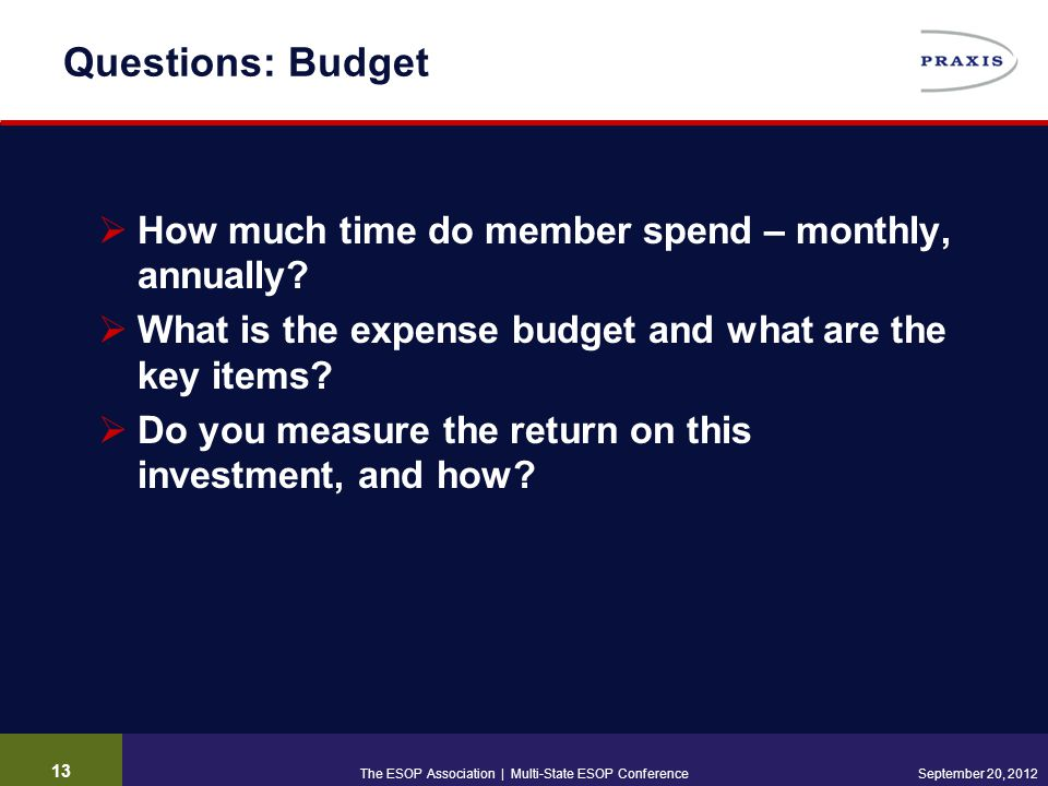 Questions: Budget  How much time do member spend – monthly, annually.