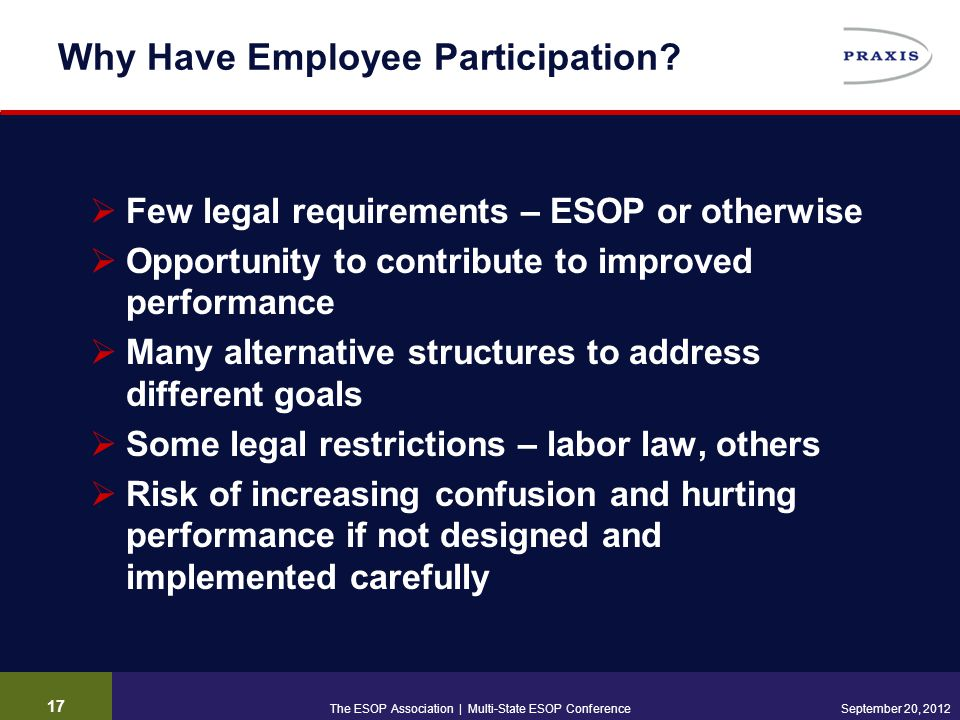 17 September 20, 2012 Why Have Employee Participation?  Few legal requirements – ESOP or otherwise  Opportunity to contribute to improved performanc
