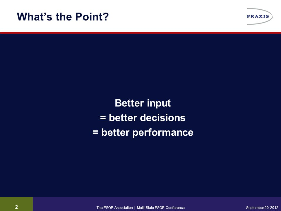 What's the Point? Better input = better decisions = better performance 2 September 20, 2012The ESOP Association | Multi-State ESOP Conference