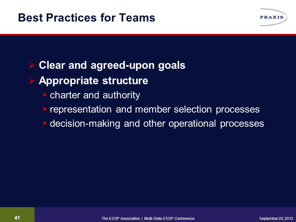 41 September 20, 2012 Best Practices for Teams  Clear and agreed-upon goals  Appropriate structure  charter and authority  representation and member selection processes  decision-making and other operational processes The ESOP Association | Multi-State ESOP Conference