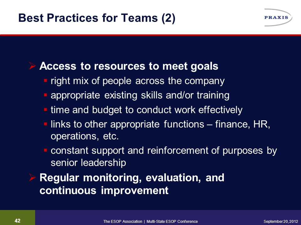 42 September 20, 2012 Best Practices for Teams (2)  Access to resources to meet goals  right mix of people across the company  appropriate existing skills and/or training  time and budget to conduct work effectively  links to other appropriate functions – finance, HR, operations, etc.