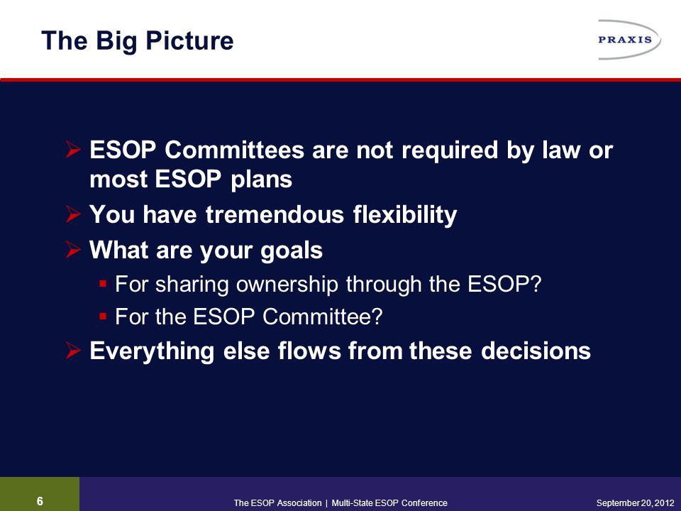 6 September 20, 2012 The Big Picture  ESOP Committees are not required by law or most ESOP plans  You have tremendous flexibility  What are your goals  For sharing ownership through the ESOP.