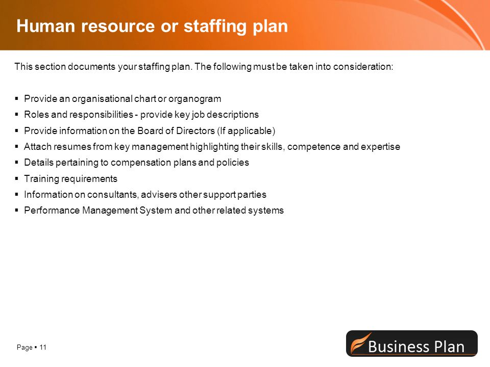Page  11 Human resource or staffing plan This section documents your staffing plan.
