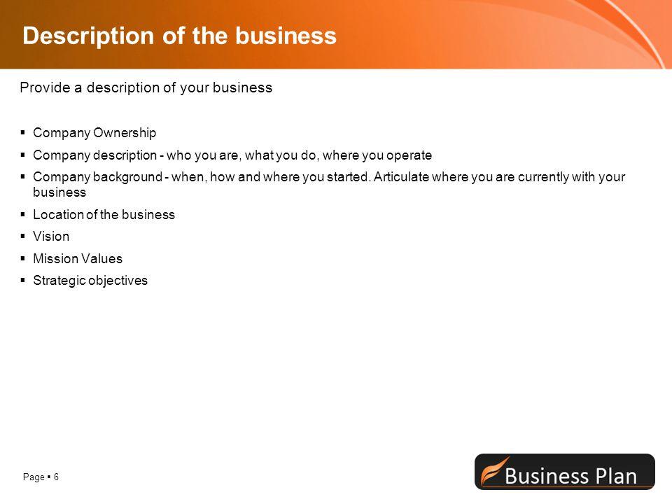 Company description business plan