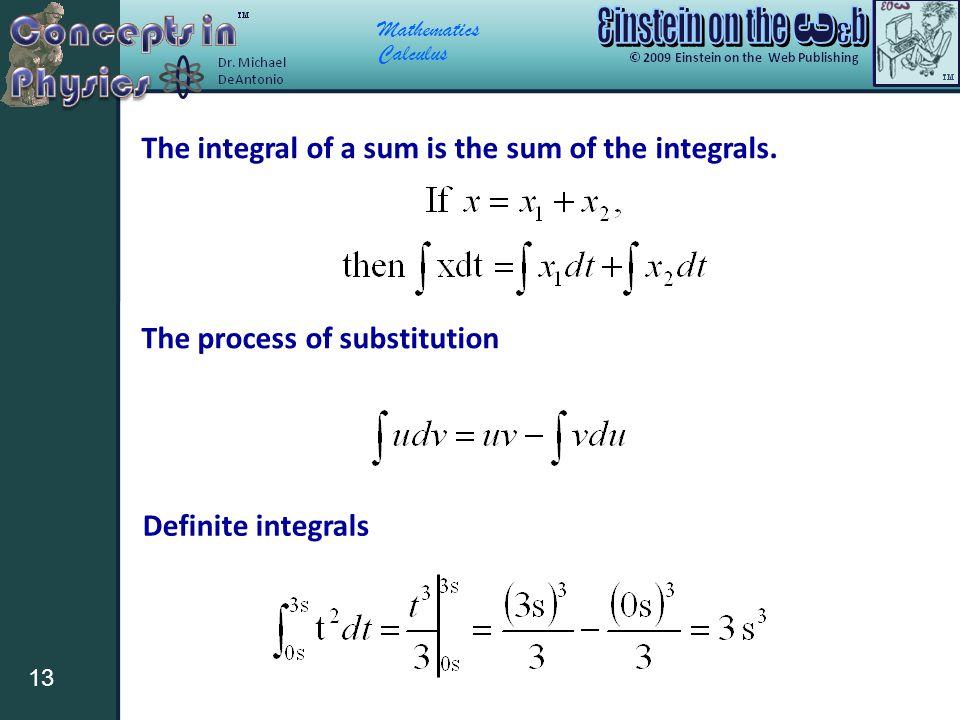 Mathematics Calculus 13 The integral of a sum is the sum of the integrals. The process of substitution Definite integrals