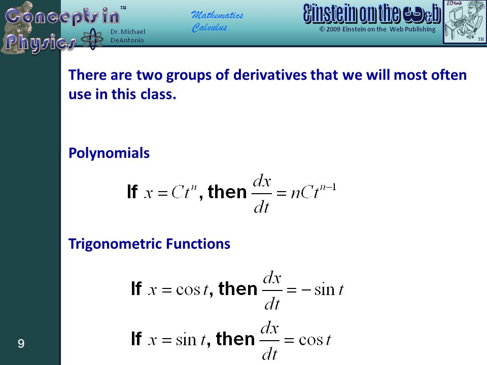 Mathematics Calculus 9 There are two groups of derivatives that we will most often use in this class. Polynomials Trigonometric Functions