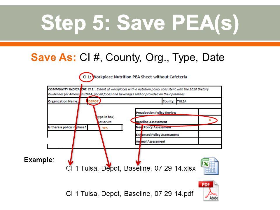 Example: CI 1 Tulsa, Depot, Baseline, 07 29 14.xlsx CI 1 Tulsa, Depot, Baseline, 07 29 14.pdf Save As: CI #, County, Org., Type, Date