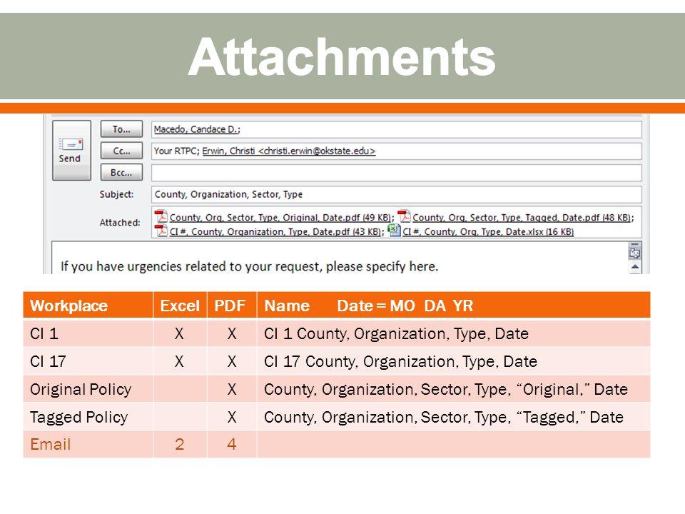 WorkplaceExcelPDFName Date = MO DA YR CI 1XXCI 1 County, Organization, Type, Date CI 17XXCI 17 County, Organization, Type, Date Original PolicyXCounty