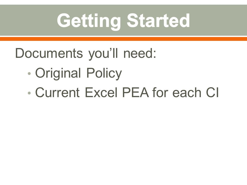 Documents you'll need: Original Policy Current Excel PEA for each CI