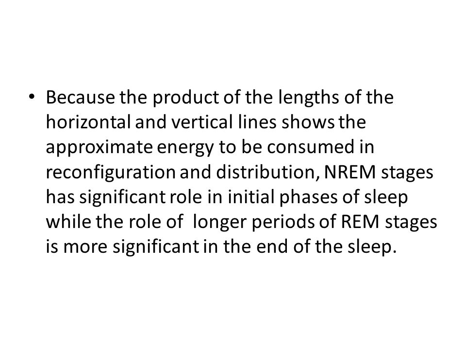 Because the product of the lengths of the horizontal and vertical lines shows the approximate energy to be consumed in reconfiguration and distribution, NREM stages has significant role in initial phases of sleep while the role of longer periods of REM stages is more significant in the end of the sleep.