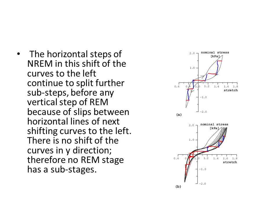 The horizontal steps of NREM in this shift of the curves to the left continue to split further sub-steps, before any vertical step of REM because of slips between horizontal lines of next shifting curves to the left.