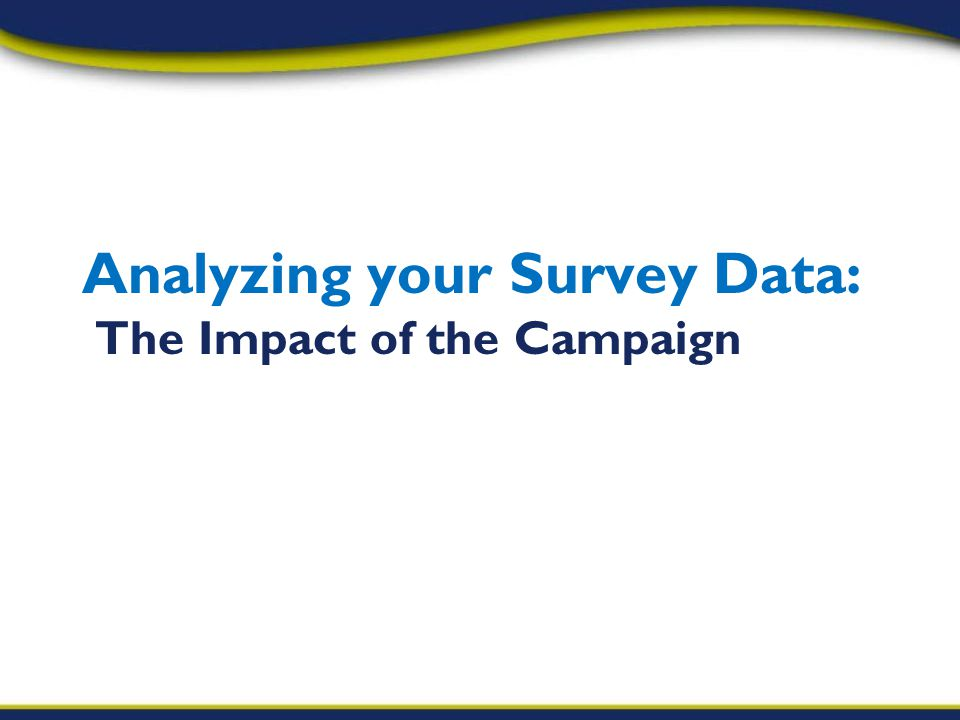 Analyzing your Survey Data: The Impact of the Campaign