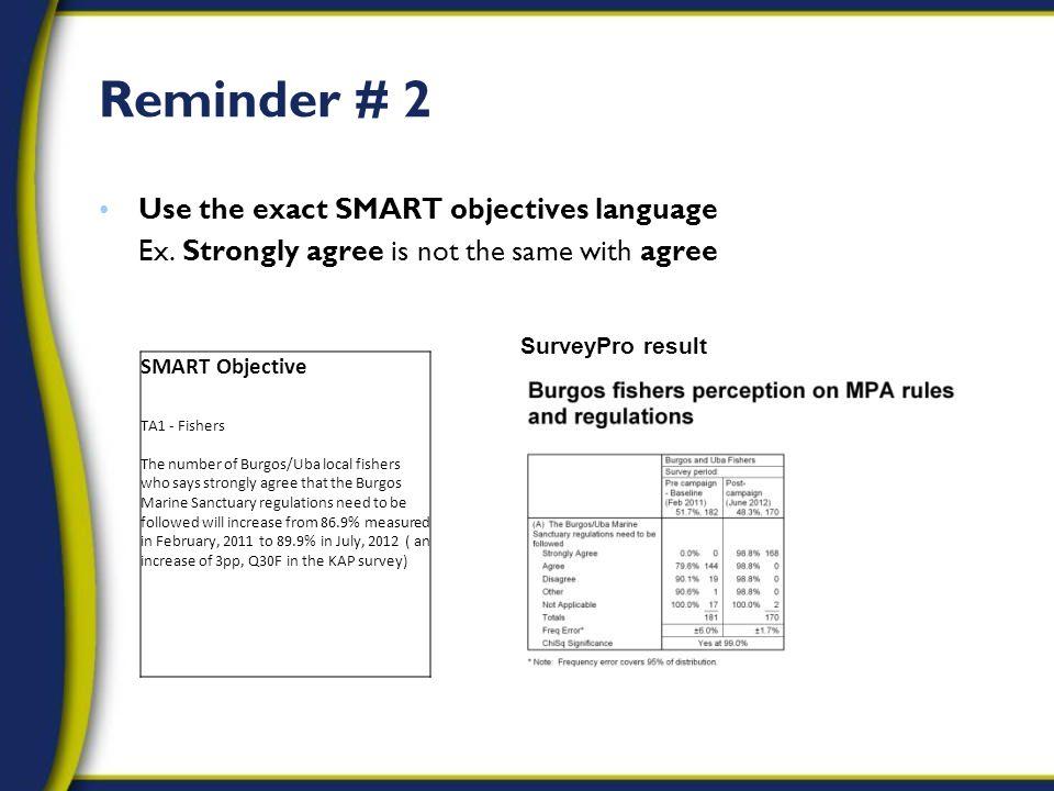 Reminder # 2 Use the exact SMART objectives language Ex.