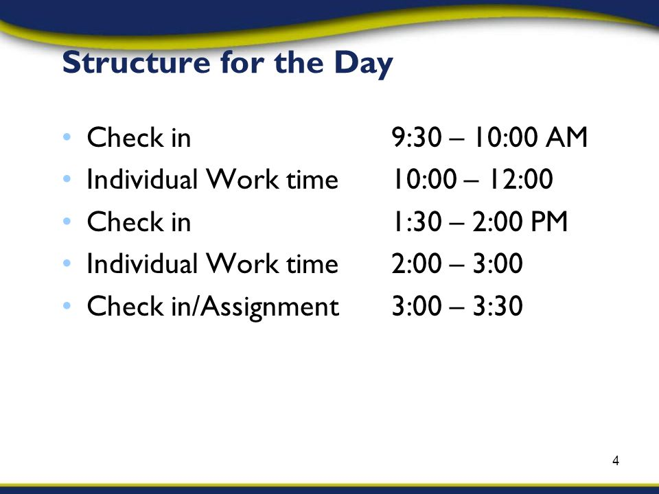 Structure for the Day Check in9:30 – 10:00 AM Individual Work time10:00 – 12:00 Check in1:30 – 2:00 PM Individual Work time2:00 – 3:00 Check in/Assignment3:00 – 3:30 4