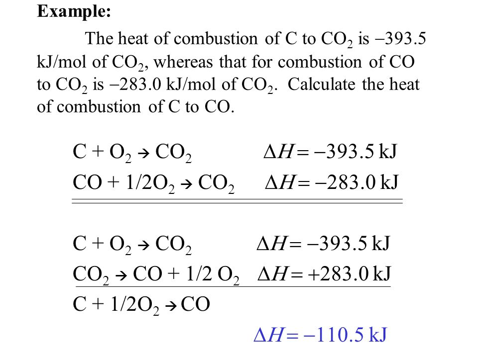 Example: The heat of combustion of C to CO 2 is  393.5 kJ/mol of CO 2, whereas that for combustion of CO to CO 2 is  283.0 kJ/mol of CO 2.