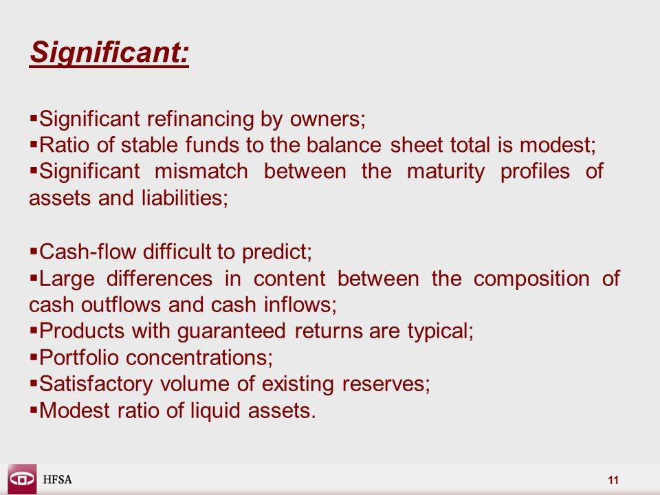 11 Significant:  Significant refinancing by owners;  Ratio of stable funds to the balance sheet total is modest;  Significant mismatch between the maturity profiles of assets and liabilities;  Cash-flow difficult to predict;  Large differences in content between the composition of cash outflows and cash inflows;  Products with guaranteed returns are typical;  Portfolio concentrations;  Satisfactory volume of existing reserves;  Modest ratio of liquid assets.