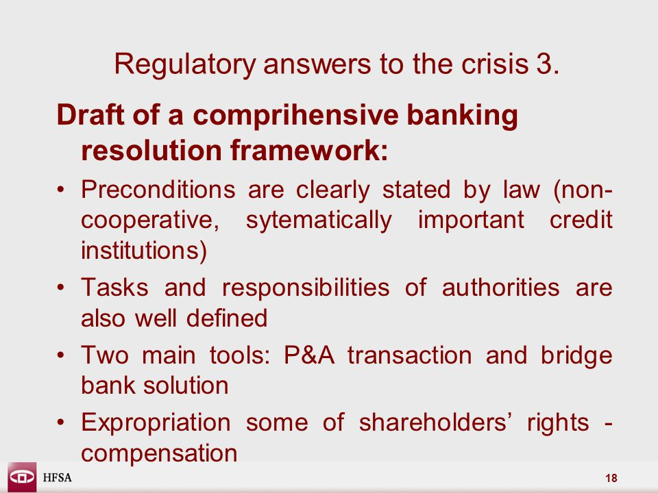 18 Regulatory answers to the crisis 3.