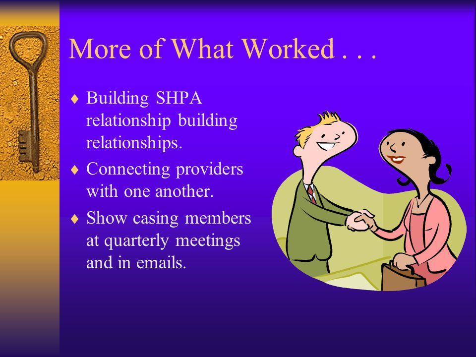 More of What Worked...  Building SHPA relationship building relationships.