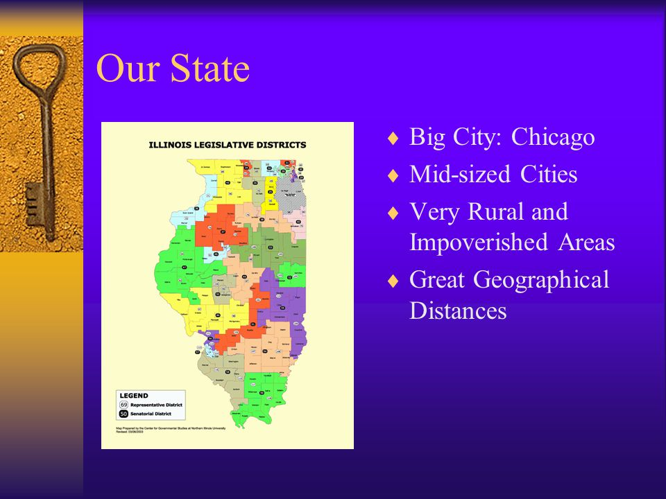 Our State  Big City: Chicago  Mid-sized Cities  Very Rural and Impoverished Areas  Great Geographical Distances