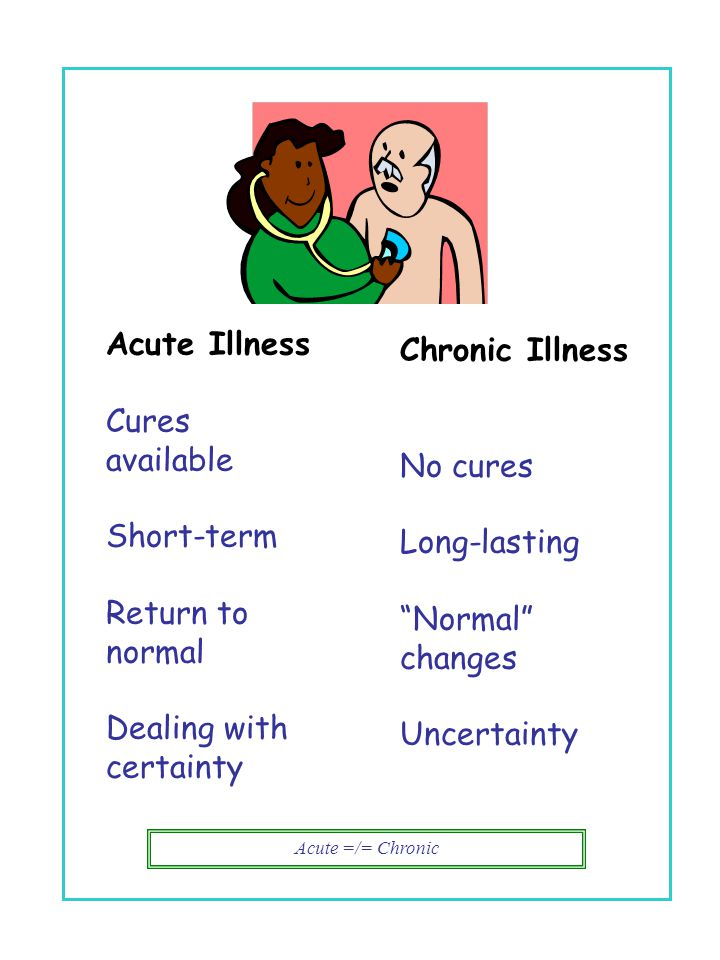 Acute =/= Chronic Chronic Illness No cures Long-lasting Normal changes Uncertainty Acute Illness Cures available Short-term Return to normal Dealing with certainty vs.