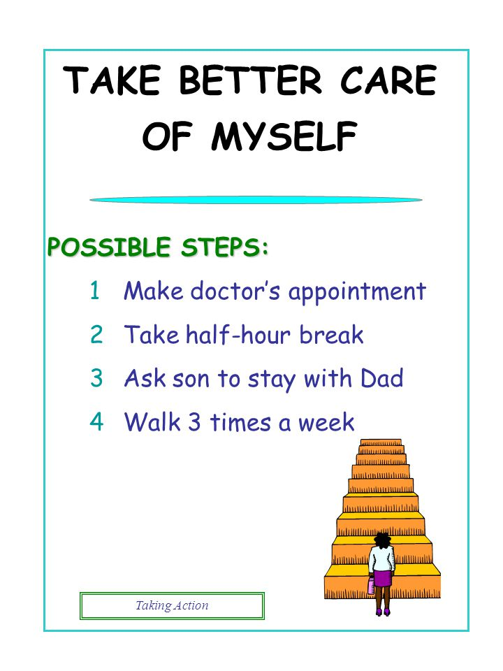 Taking Action TAKE BETTER CARE OF MYSELF POSSIBLE STEPS: 1Make doctor's appointment 2Take half-hour break 3Ask son to stay with Dad 4Walk 3 times a we
