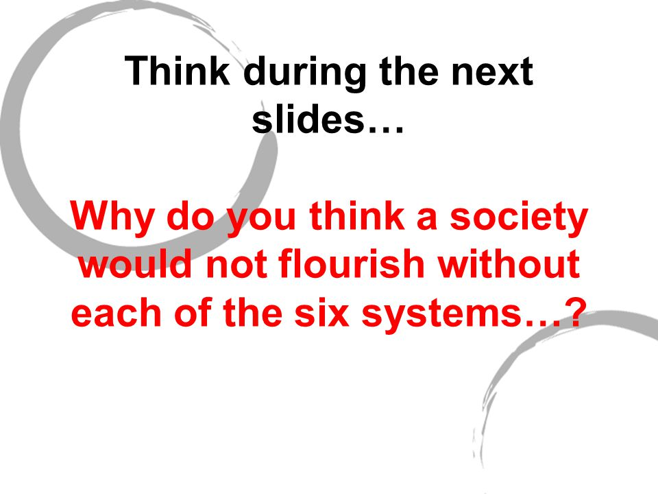 Education/Communication Language Reading/writing Inquiry vs lecturing School Home schooling Internship/Apprenticeship Message system (How do people communicate?) Information resources Why do you think your island would not flourish without this system?
