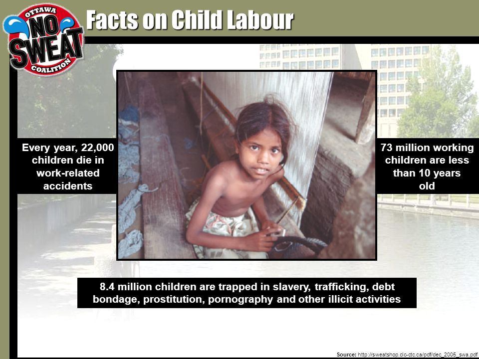 73 million working children are less than 10 years old Every year, 22,000 children die in work-related accidents Facts on Child Labour 8.4 million children are trapped in slavery, trafficking, debt bondage, prostitution, pornography and other illicit activities Source: http://sweatshop.clc-ctc.ca/pdf/dec_2005_swa.pdf