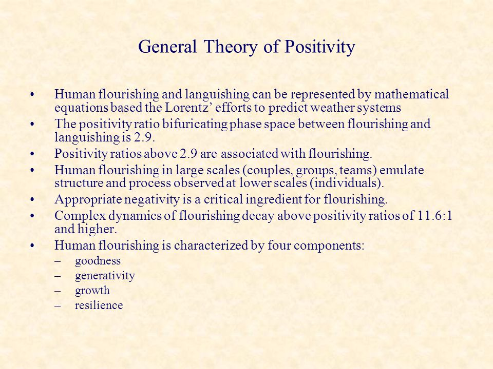 General Theory of Positivity Human flourishing and languishing can be represented by mathematical equations based the Lorentz' efforts to predict weat