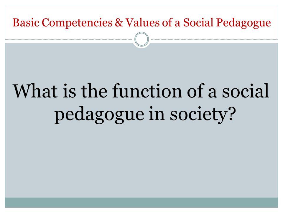 Basic Competencies & Values of a Social Pedagogue What is the function of a social pedagogue in society?