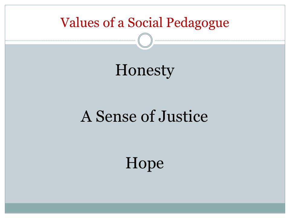 Values of a Social Pedagogue Honesty A Sense of Justice Hope