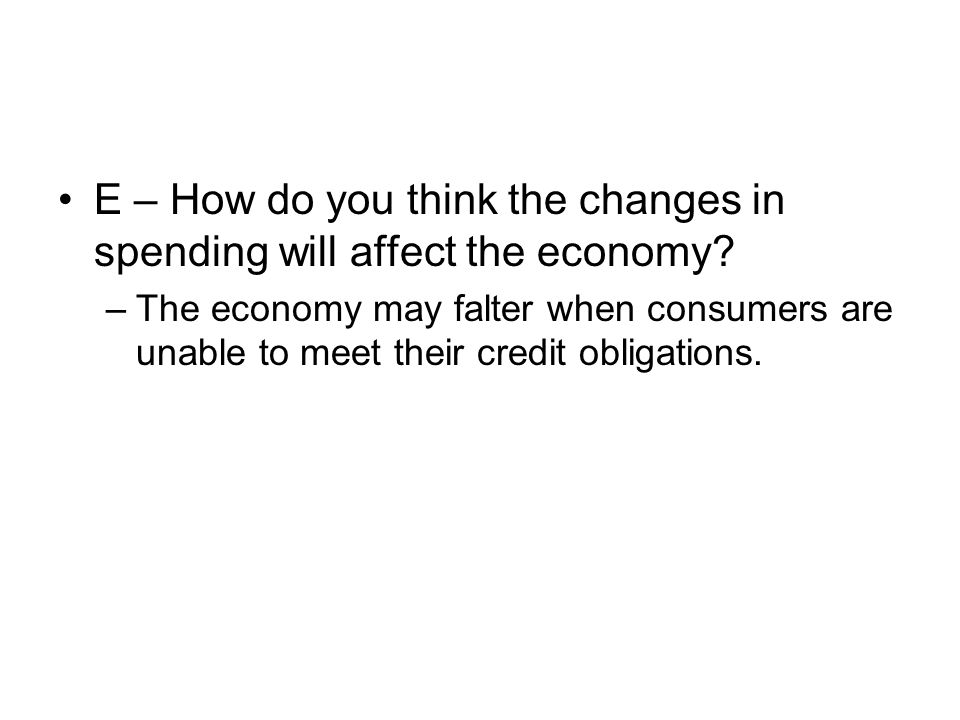 E – How do you think the changes in spending will affect the economy? –The economy may falter when consumers are unable to meet their credit obligatio