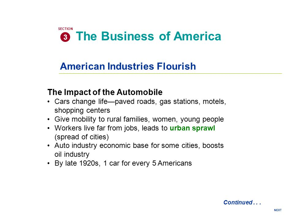 NEXT American Industries Flourish The Business of America 3 SECTION Continued... The Impact of the Automobile Cars change life—paved roads, gas statio