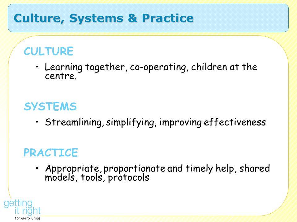 Culture, Systems & Practice CULTURE Learning together, co-operating, children at the centre. SYSTEMS Streamlining, simplifying, improving effectivenes