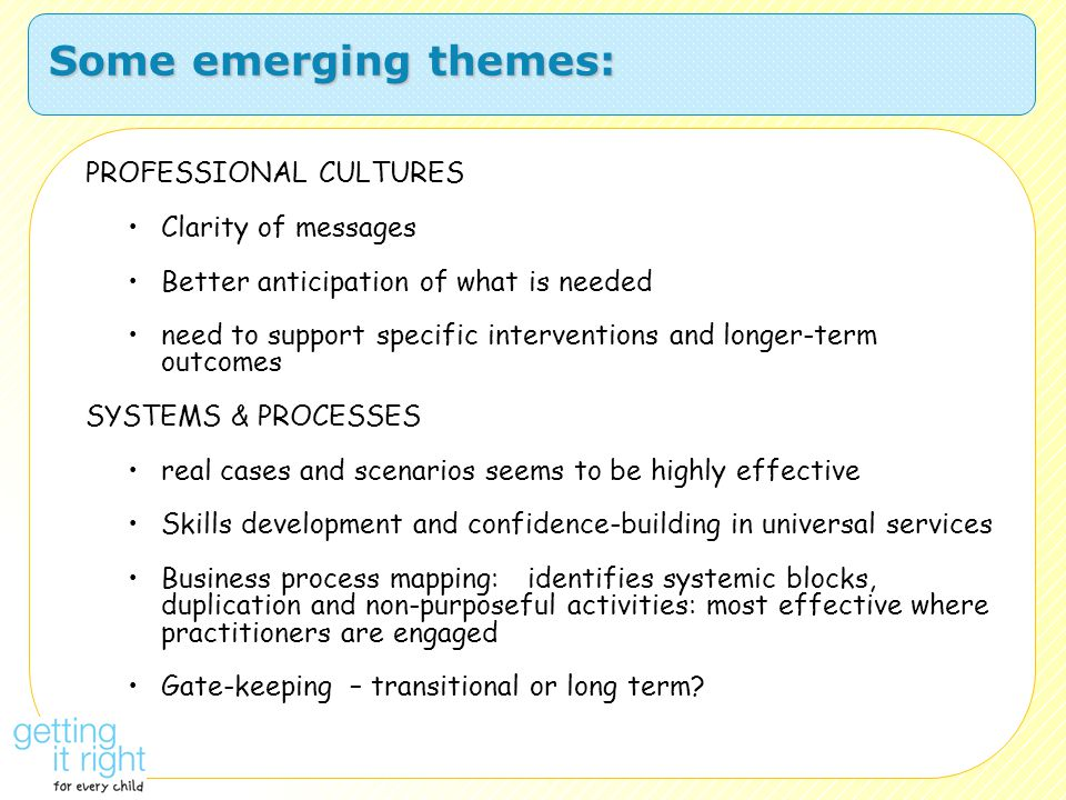 Some emerging themes: PROFESSIONAL CULTURES Clarity of messages Better anticipation of what is needed need to support specific interventions and longe
