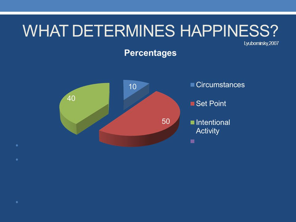 WHAT DETERMINES HAPPINESS? Lyubomirsky, 2007