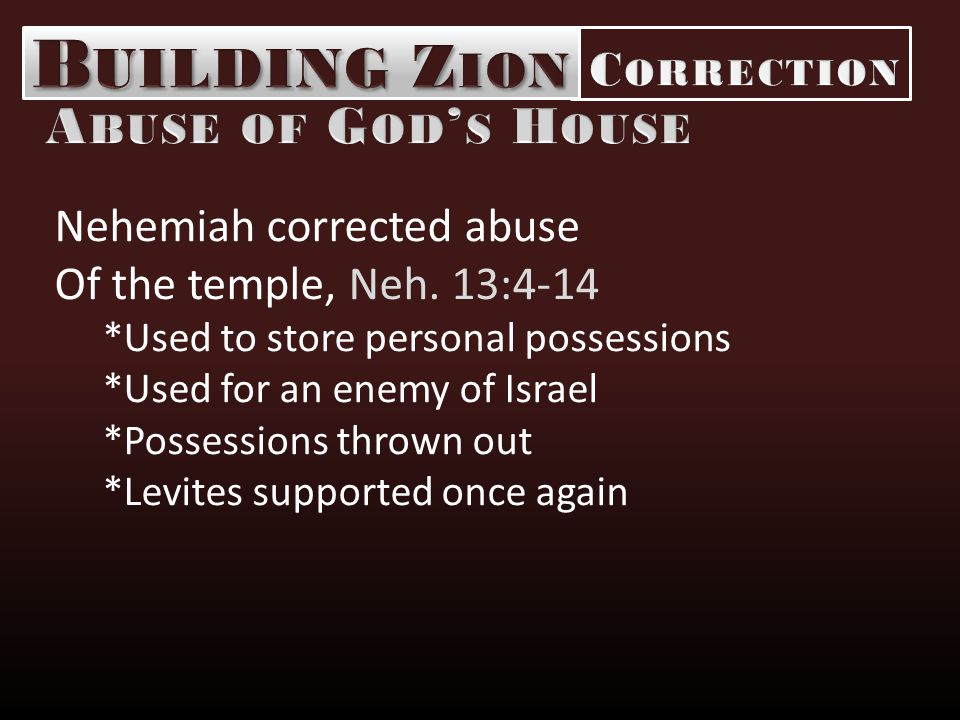 Nehemiah corrected abuse Of the temple, Neh.
