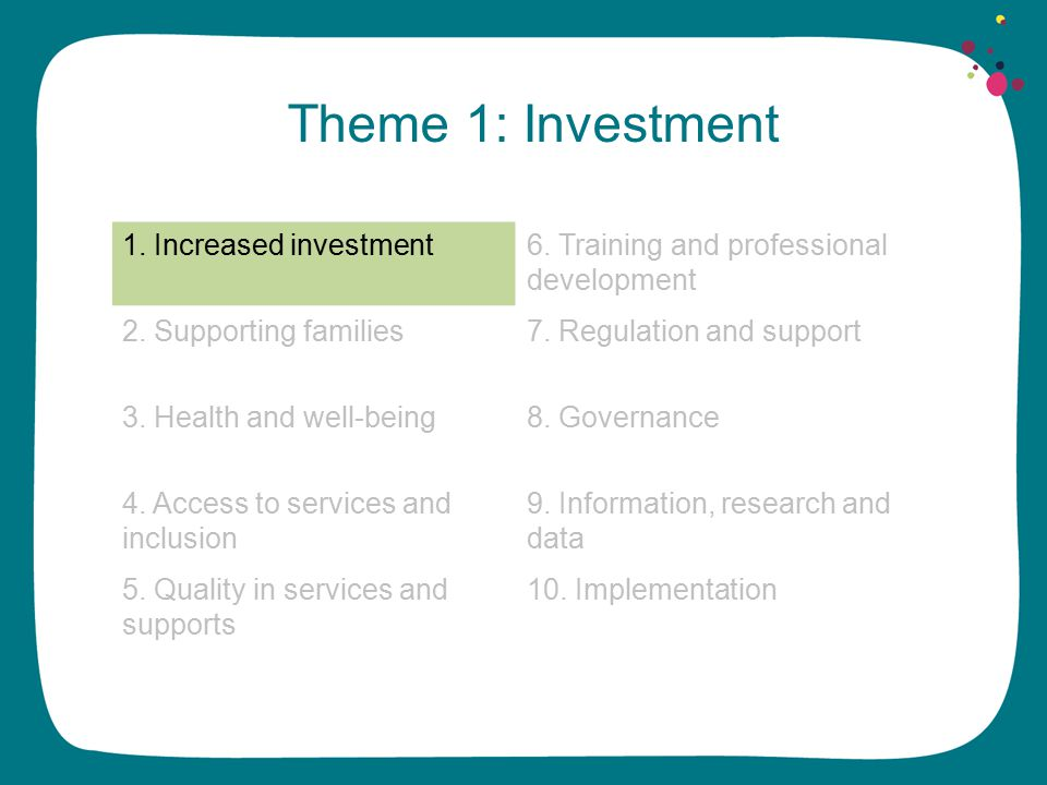 Theme 1: Investment 1. Increased investment6. Training and professional development 2.